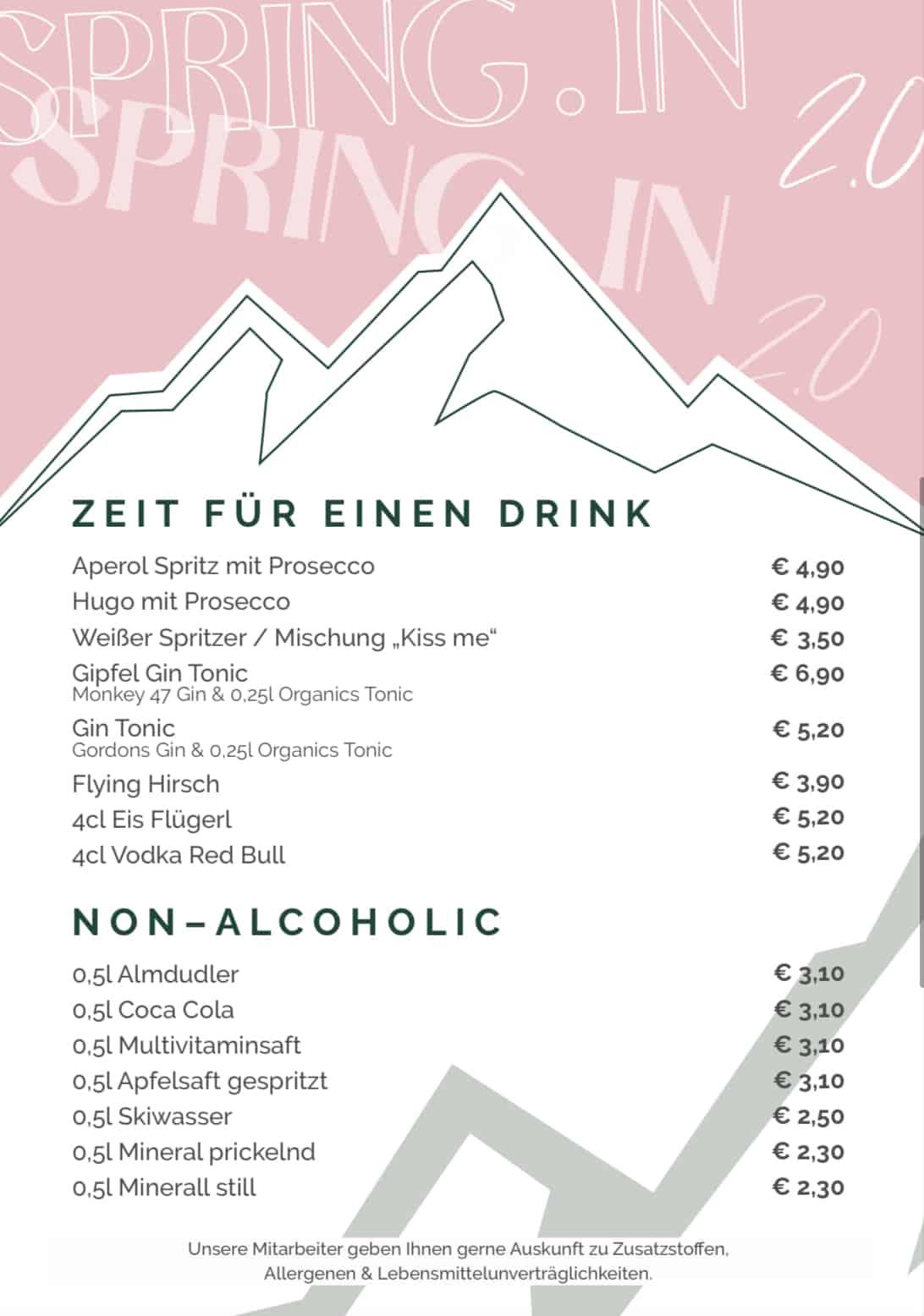 Getraenkekarte Zeit fuer einen Drink