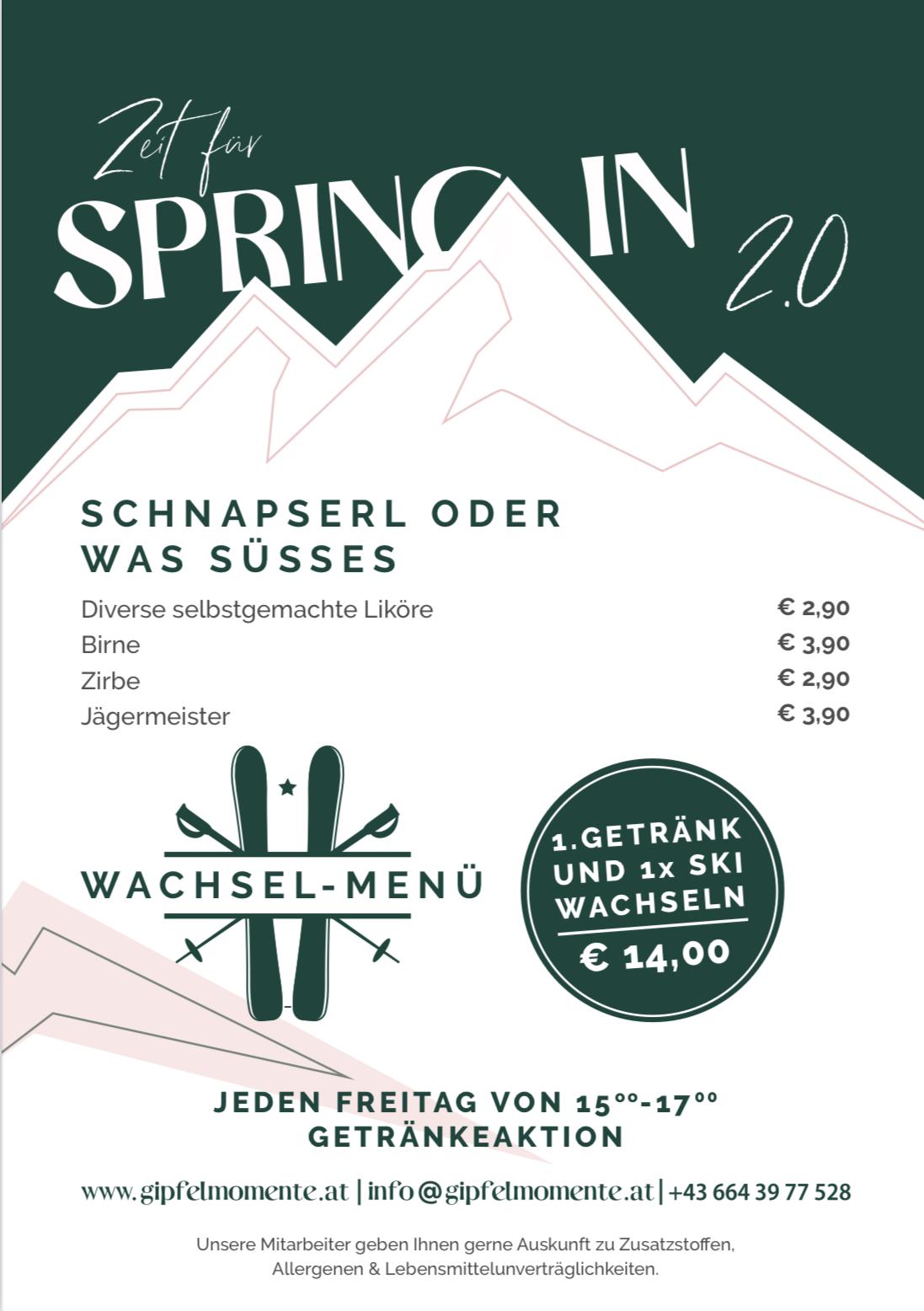 Getraenkekarte Schnapserl